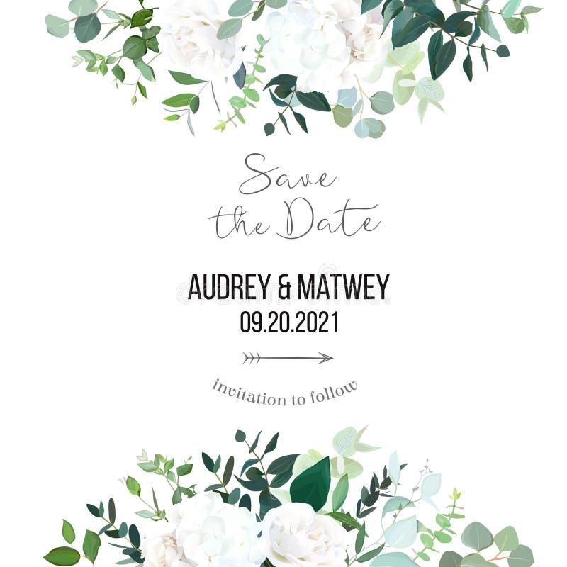 Blumenvektorfahnenrahmen mit dem weißen des Eukalyptus, Smaragd- und tadellosen Grün der Rose, der Hortensie, stock abbildung