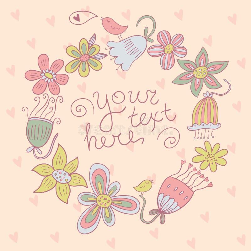 Blumenvektorgrußkarte lizenzfreies stockbild