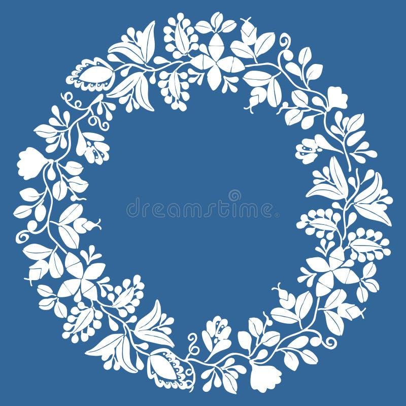 Blumenvektorrahmen des weißen Kranzes lokalisiert auf Marineblauhintergrund stock abbildung