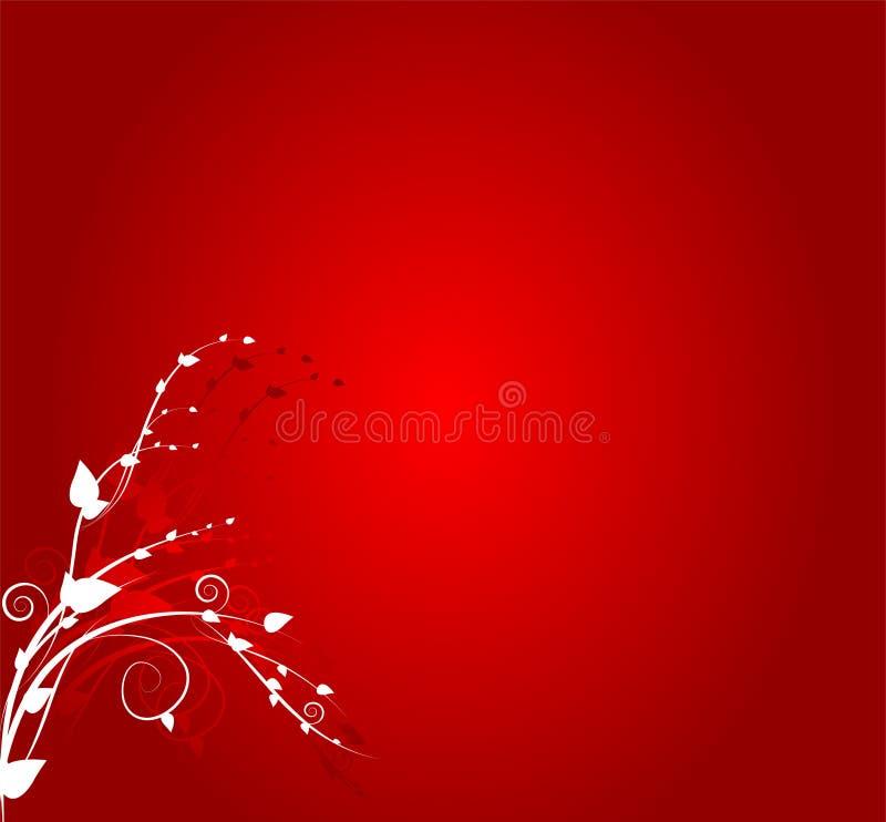 Blumenverzierung auf rotem Hintergrund lizenzfreie abbildung