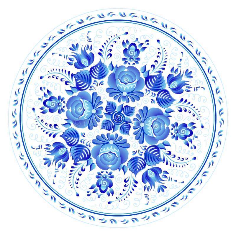 Blumenverzierung der blauen Runde in russischer gzhel Art, Vektorplatten-Druckschablone stock abbildung