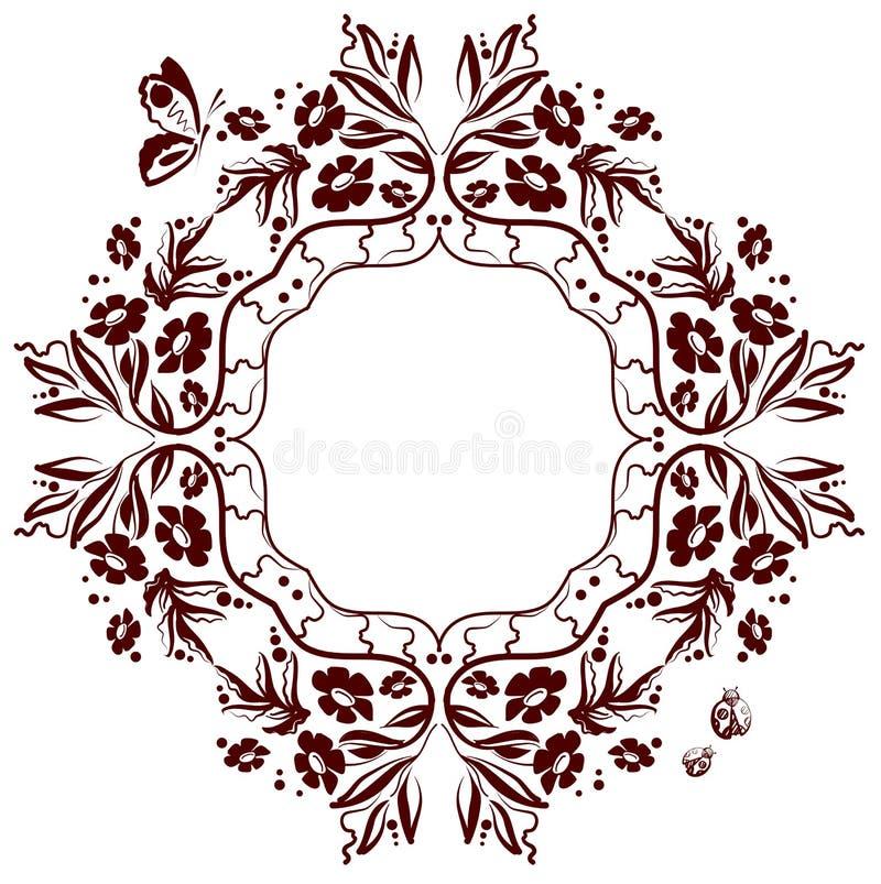Blumenverzierung des einfarbigen Rahmens lizenzfreie abbildung