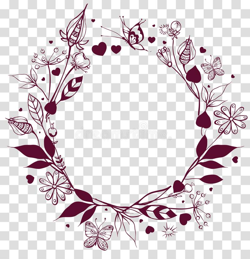 Blumenverzierung des runden Rahmens auf transparentem Hintergrund Blumen und Blätter, Schmetterlingssommersaison lizenzfreie abbildung