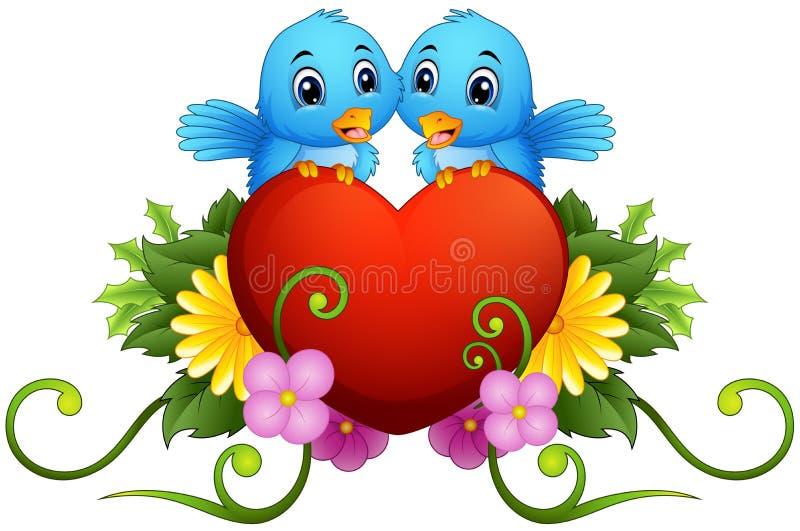 Blumenverzierung mit Herzen und blauen Vögeln vektor abbildung