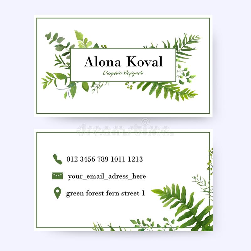 Blumenvisitenkartedesign Weinlese, rustikales Eukalyptusgrün er lizenzfreie abbildung