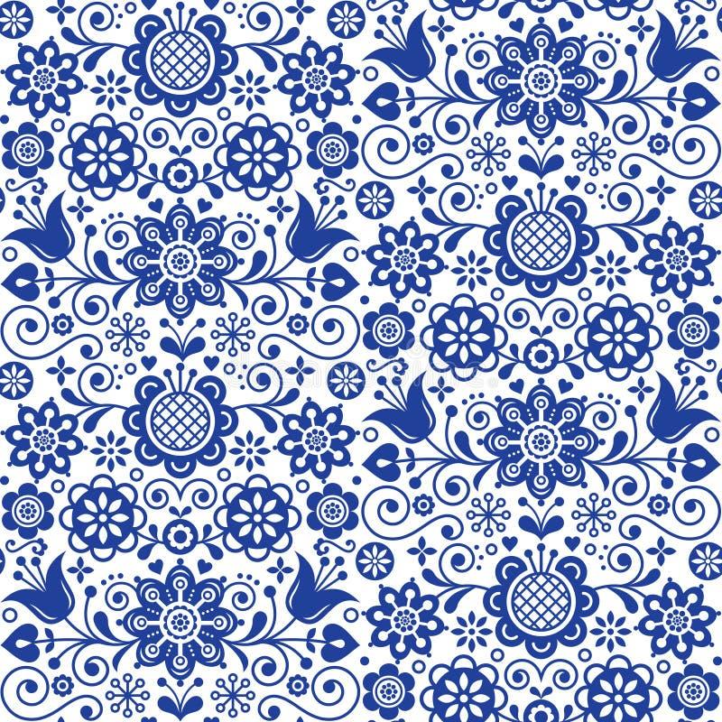 Blumenvolkskunstgrußkarte, Gestaltungselemente, skandinavischer Artdekor mit Blumen und Blätter, Retro- blaue Blumenzusammensetzu lizenzfreie abbildung