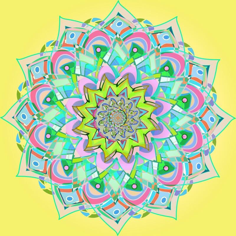 BLUMENweinlese-MANDALA EINFACHER GELBER HINTERGRUND Orientalisches Blumenmuster stock abbildung