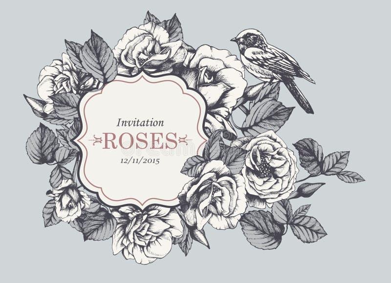 Blumenweinleseeinladung mit von Hand gezeichneten Gartenrosen und -vogel vektor abbildung