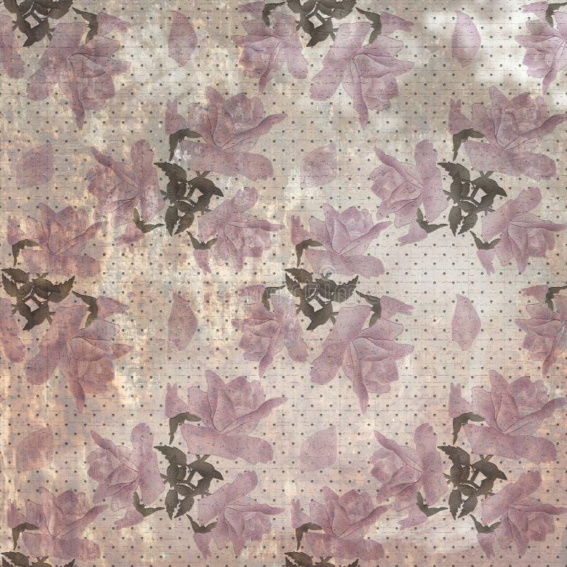 Blumenweinlesemuster der nahtlosen Retro- Schmutzrosenblumen stock abbildung