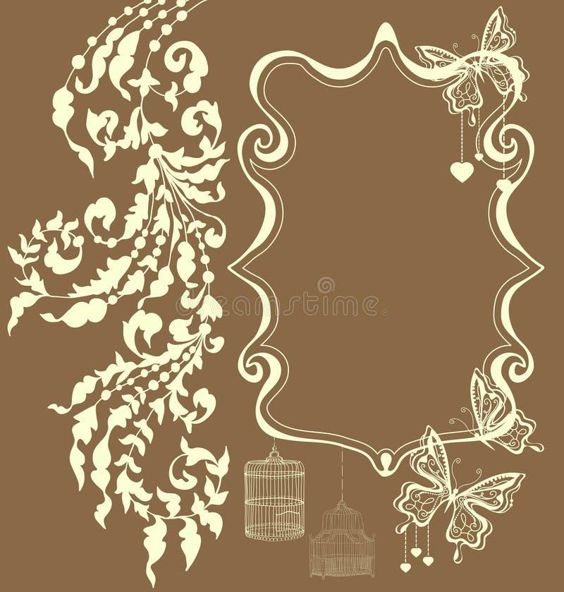 Blumenweinleseverzierung mit Platz für Text, Valentinsgrußkarte vektor abbildung