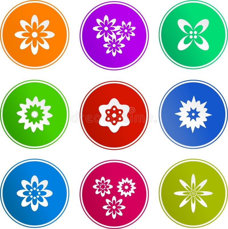 Blumenzeichenikonen lizenzfreie abbildung