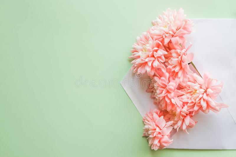Blumenzusammensetzung für Grußkarte Mit Chrysanthemen und Umschlag Post für Sie Wiese voll des gelben Löwenzahns hochzeit lizenzfreie stockbilder