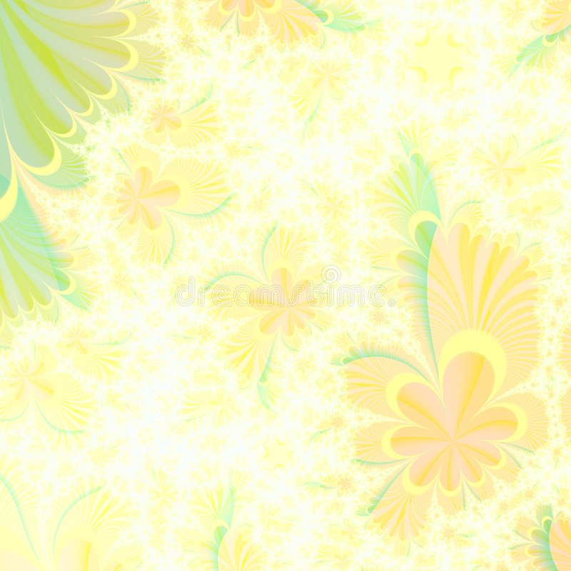Blumige gelbe und grüne abstrakte Hintergrundauslegungschablone vektor abbildung