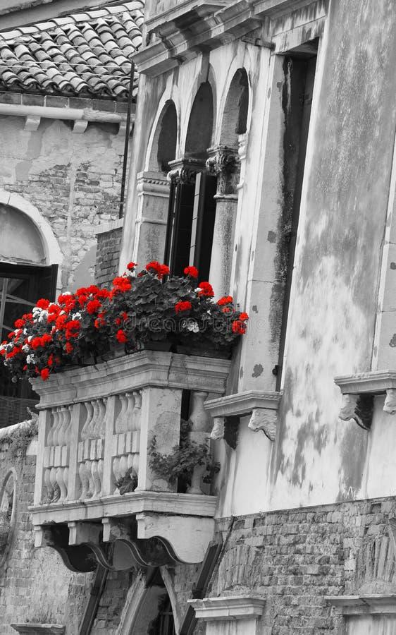Blumiger Balkon auf einem alten venetianischen Palast lizenzfreies stockbild