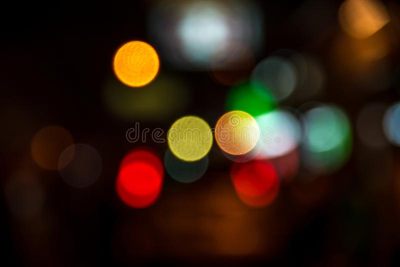 Blur abstract bokeh of street city night light background. royalty free stock photography