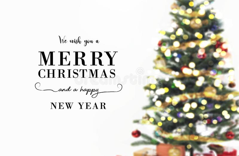 Blur background Christmas tree decorative with bokeh light royalty free stock photography