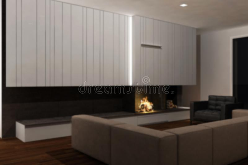 Blur background interior design, modern minimalist furniture with fireplace in contemporary living room with parquet floor, iron. Blur background interior design stock photography