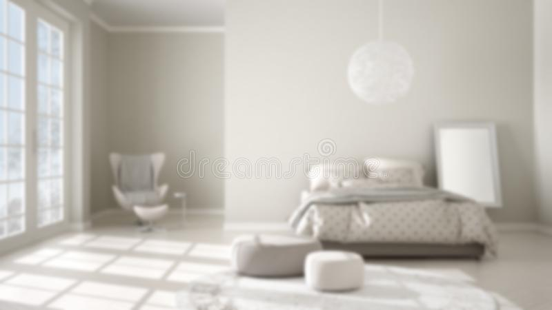 Blur background interior design, comfortable modern bedroom with wooden parquet floor, panoramic window, carpet, armchair and bed. With blanket and pillows royalty free illustration