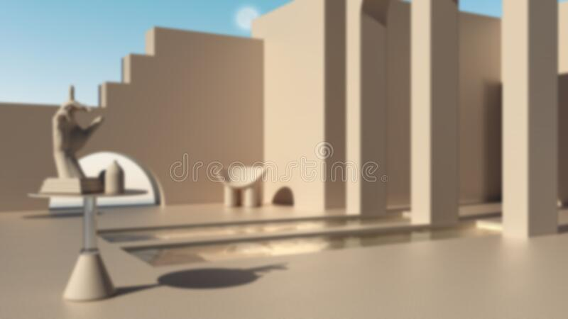 Blur background interior design, imaginary fictional architecture, dreamlike empty space, exterior terrace, arched windows, pools. Table with hand figurine stock illustration