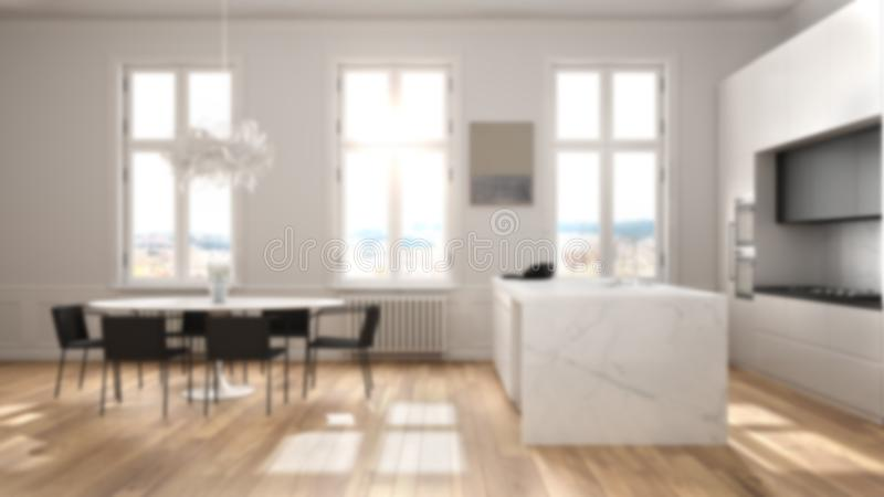 Blur background interior design, minimalist kitchen in classic room, parquet floor, dining table, chairs, island and panoramic. Windows, modern architecture royalty free illustration