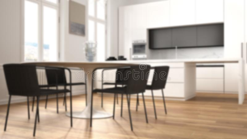 Blur background interior design, minimalist kitchen in classic room, parquet floor, dining table, chairs, island and panoramic. Windows, modern architecture vector illustration