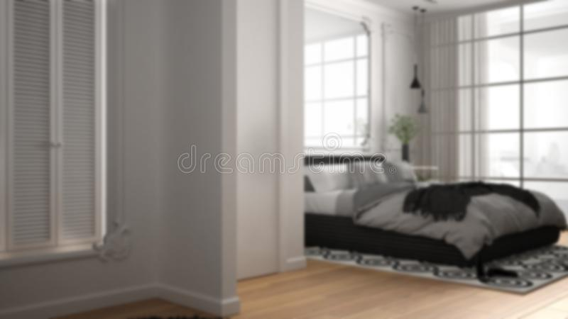 Blur background interior design: modern bedroom in classic room with wall moldings, parquet, double bed with duvet and pillows,. Mirror and decors, architecture vector illustration