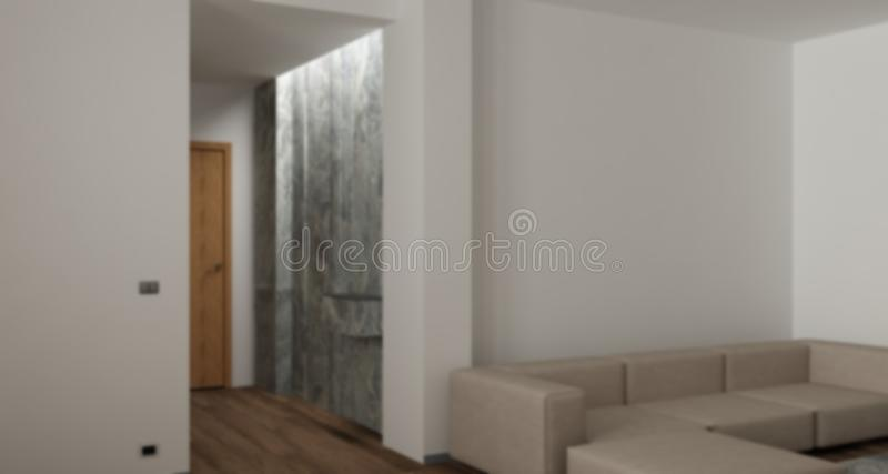 Blur background interior design, modern living room with parquet floor, marble entrance doorway, contemporary sofa, minimalist royalty free stock photography