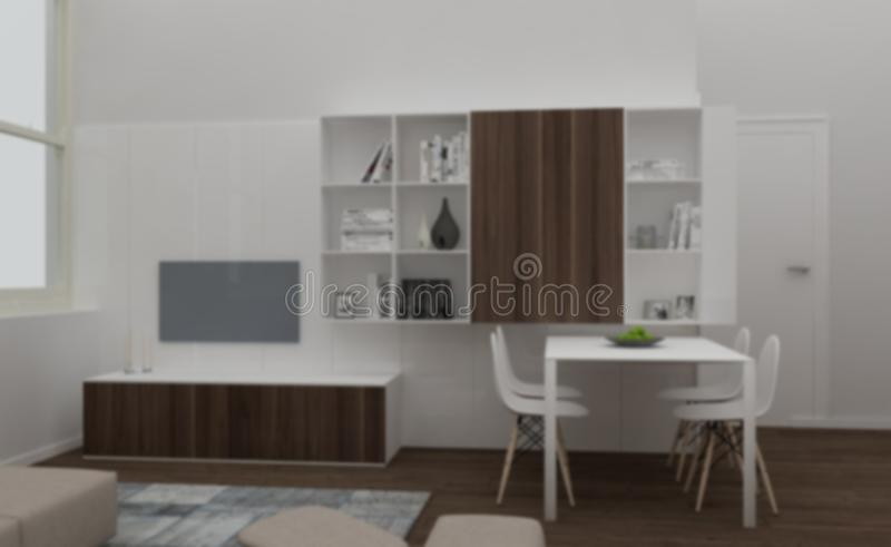 Blur background interior design, modern living room with wooden and white furniture, bookshelf and dining table with chairs,. Minimalist architecture concept stock photos