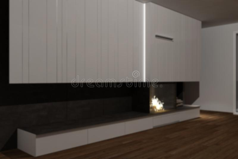 Blur background interior design, modern minimalist furniture with fireplace in contemporary living room with parquet floor, iron. Details and white cabinets stock images
