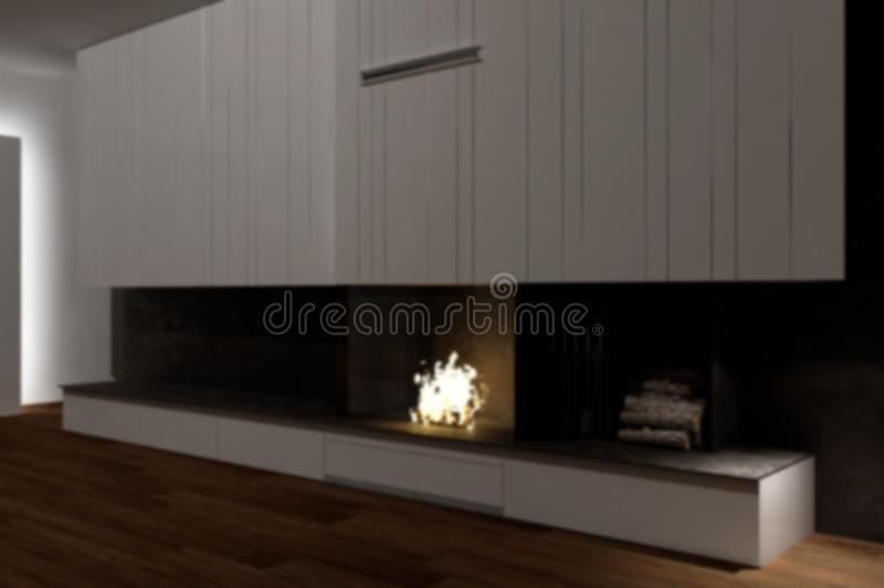 Blur background interior design, modern minimalist furniture with fireplace in contemporary living room with parquet floor, iron. Details and white cabinets royalty free stock photography