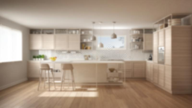 Blur background interior design, white kitchen with wooden details and parquet floor, modern pendant lamps, minimalist concept stock illustration