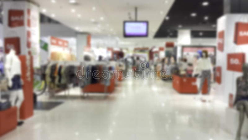Blur and bokeh. Shops in malls, discount blur and bokeh background stock photography