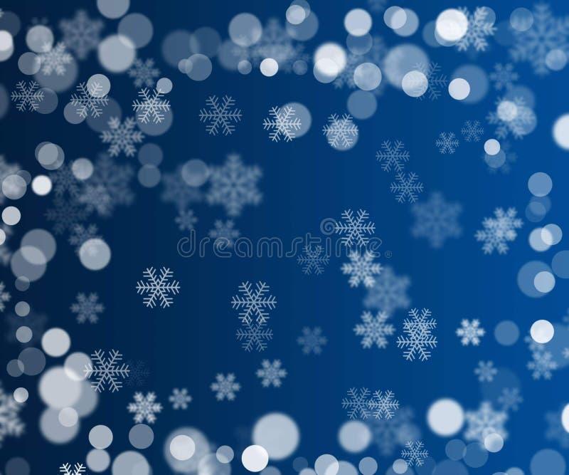 Blur bokeh snowflakes and circle Christmas background stock photo