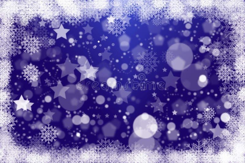 Blur bokeh snowflakes, stars and circle Christmas background royalty free stock photo