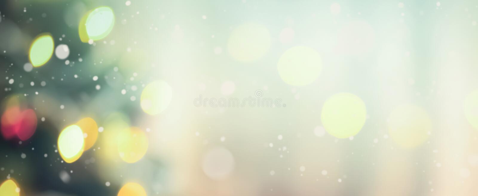 Blur Christmas tree with bokeh from decorative light stock images