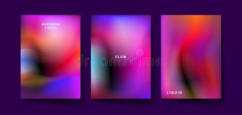 Blur, colorful spots. Northern lights, set of banners with fog, blur, colorful spots, abstract set of color fluid posters. ESP10 vector illustration vector illustration