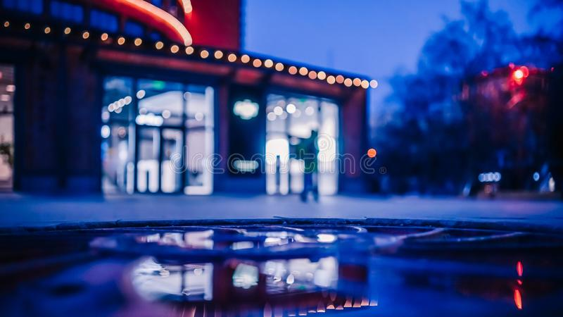 Blur focused urban abstract texture bokeh city lights. Selected focus, Moscow Russia royalty free stock photography