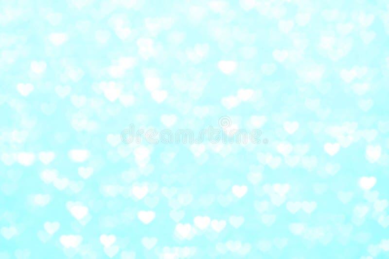 Blur heart blue background beautiful romantic, glitter bokeh lights heart soft pastel shade blue, heart background colorful blue stock photography