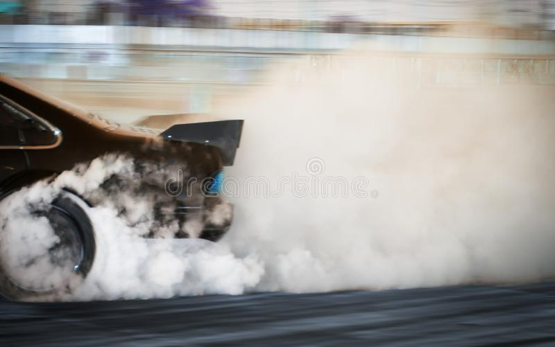 Blur image of car drifting on race track. Motor sport concept stock image