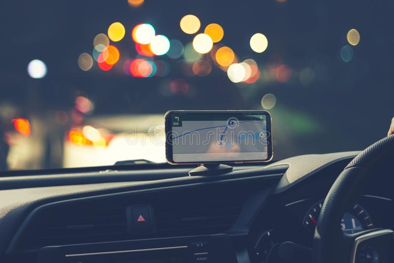 Blur image of people driving car on night time.  stock photos