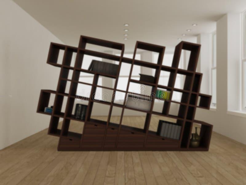 Blur interior design concept idea, modern minimalist wooden bookshelf with geometric pattern in big empty room with parquet floor royalty free stock image