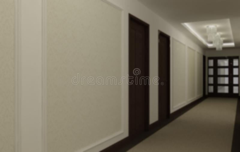Blur interior design, hotel hall corridor, classic style with carpeting, wooden doors, wallpaper and stucco moldings, pendant. Lamps and illuminated false royalty free stock image