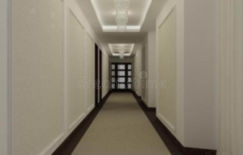 Blur interior design, hotel hall corridor, classic style with carpeting, wooden doors, wallpaper and stucco moldings, pendant. Lamps and illuminated false royalty free stock photos