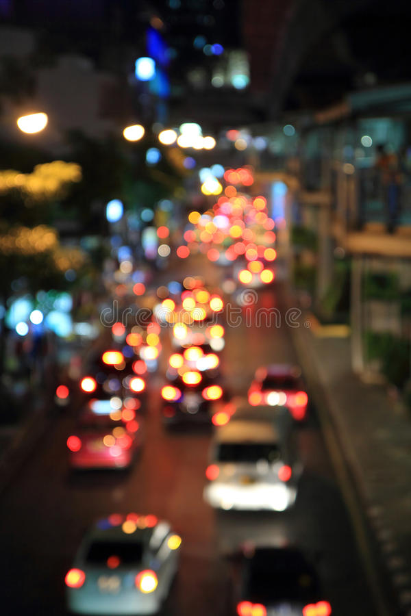 Blur Light of traffic car. In the city,Thailand royalty free stock image