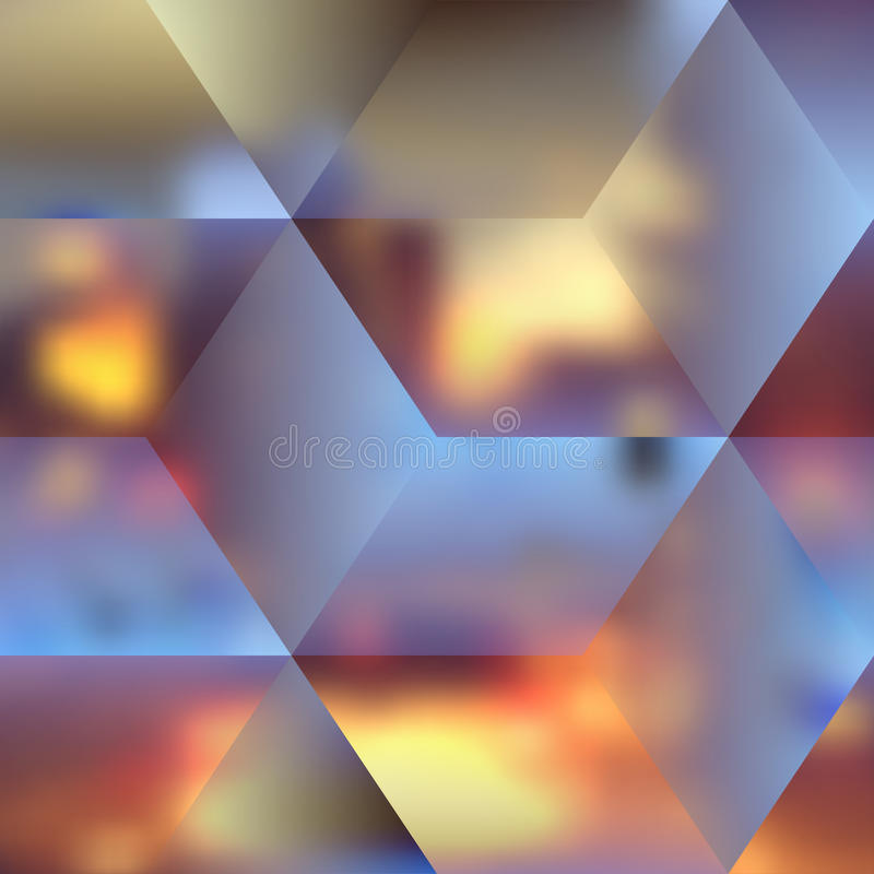 Blur lights city background. With the cubes royalty free illustration