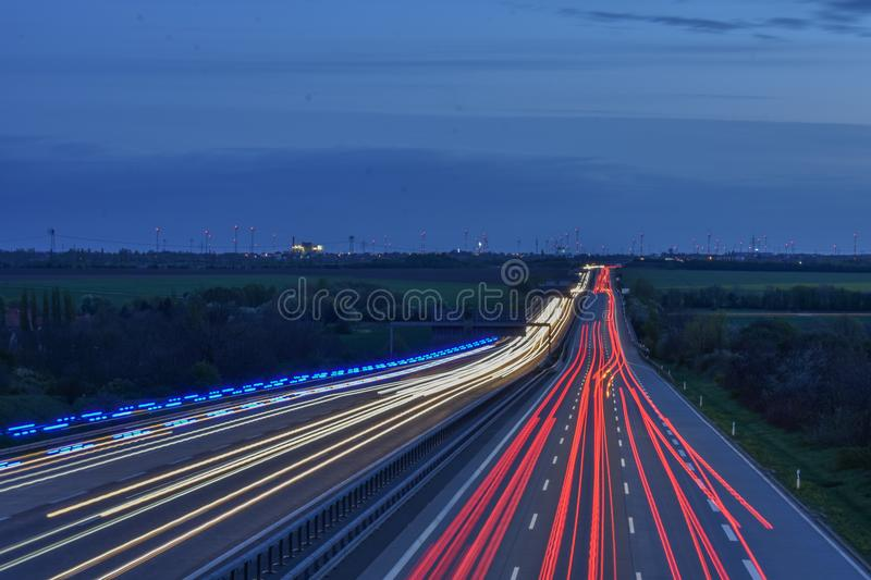 Blur of lights on highway royalty free stock photo
