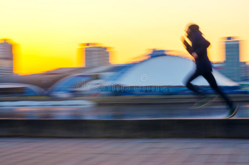 Blur in motion abstract man`s silhouette stock photo