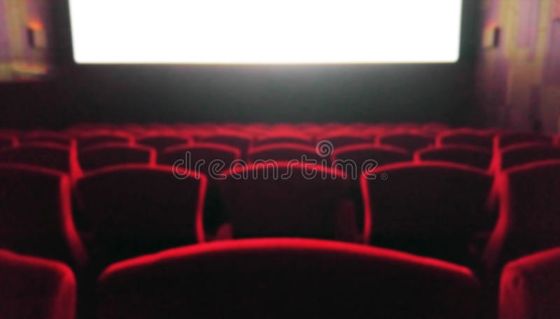 Blur Movie Theater with Red Chairs used as Template. Blur Movie Theater with Red Chairs royalty free stock image