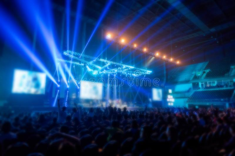 Blur music brand showing on stage or Concert Live and Defocused entertainment concert lighting on stage with Laser rays beams, stock photo