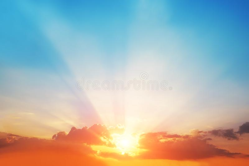 The blur pastels gradient sunset background on soft nature sunrise peaceful morning beach outdoor. heavenly mind view at a resort. Deck touching sunshine, sky royalty free stock image